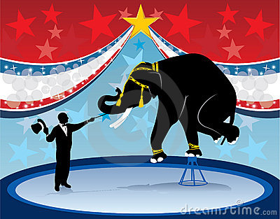 Ring master elephant and circus