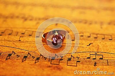 Ring on music sheet