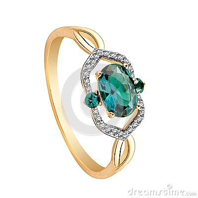 Free Ring Of Gold With Diamonds And Emeralds On White Background Stock Image - 114990671