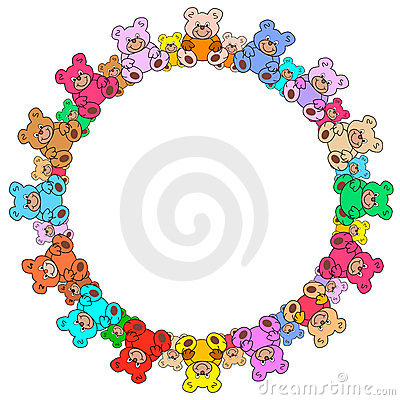 Ring out of colorful teddy bears