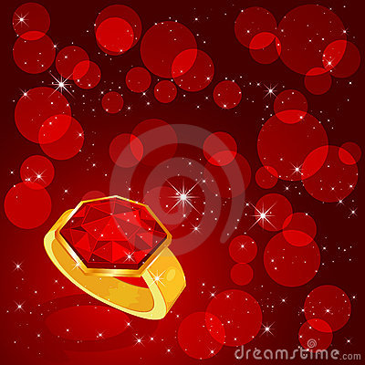 Ring on red background