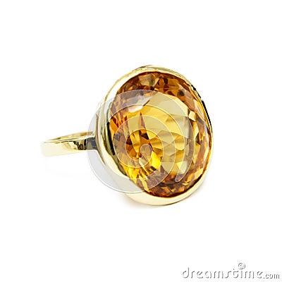 Free Ring - Yellow Precious/Semi-precious Gemstone, Set In Gold Royalty Free Stock Photography - 46706297