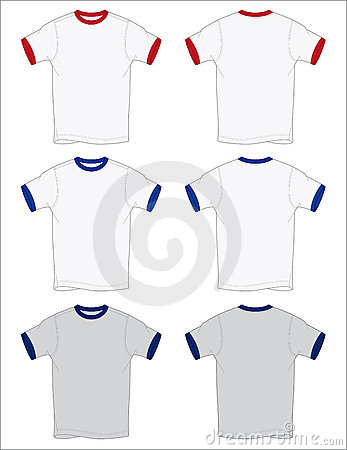Ringer T-Shirt Outlines Vector