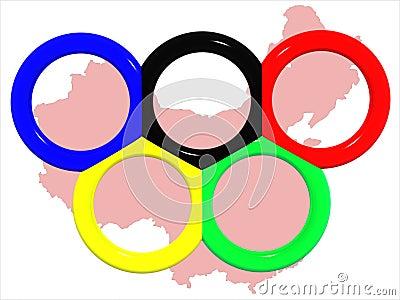 Rings&map olympique de la Chine.