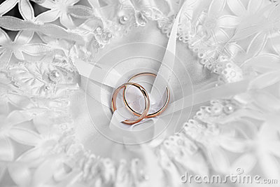 Rings on bridal  pillow