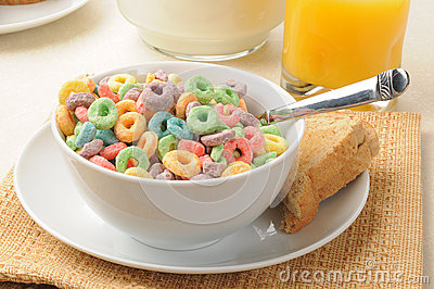Rings of fruit flavored breakfast cereal