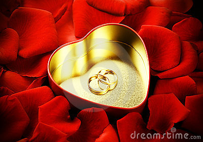 Rings, heart and roses