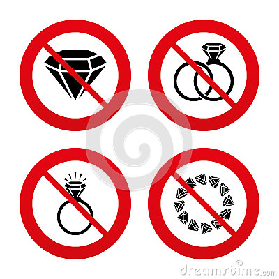 Free Rings Icons. Jewelry With Diamond Signs Royalty Free Stock Photography - 54317967