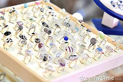 Rings in juwelery store