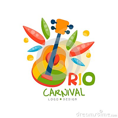 Free Rio Carnival Logo Design, Bright Fest.ive Party Banner With Guitar Vector Illustration On A White Background Royalty Free Stock Images - 116066099