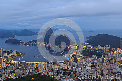 Rio de Janeiro view of Sugarloaf after sunset, Brazil
