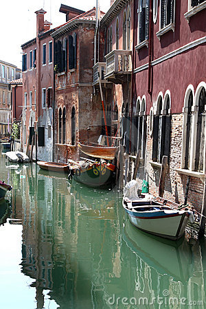 Rio del Palazzo and old houses in Venice, Italy