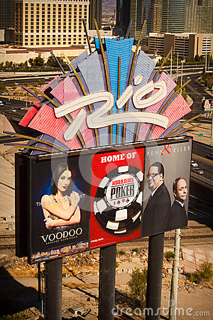 Rio Hotel Sign - Home of World Series of Poker Editorial Photography