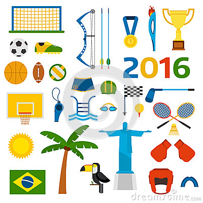 Free Rio Summer Olympic Games Icons Vector Illustration Stock Image - 67889431
