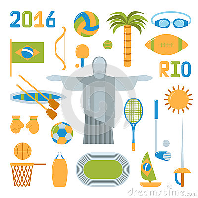 Free Rio Summer Olympic Games Icons Vector Illustration Stock Photography - 68254682