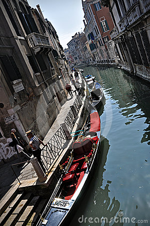 Rio water channel and gondole Venezia Editorial Stock Image