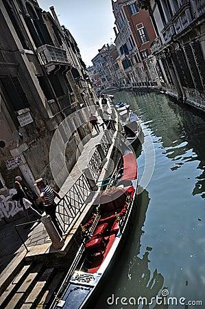 Rio water channel and gondole Venezia Editorial Stock Image