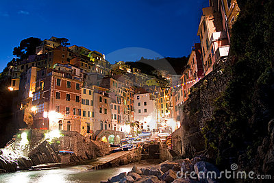 Riomaggiore in Cinque Terre at night