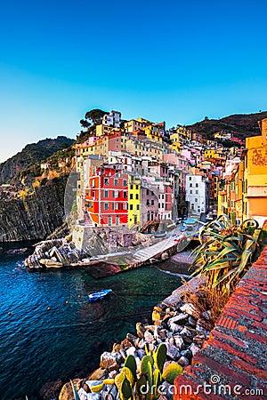 Free Riomaggiore Town, Cape And Sea Landscape At Sunset. Cinque Terre Royalty Free Stock Image - 87905836