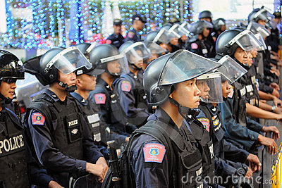 Riot Control Police at a Protest in Bangkok Editorial Stock Image