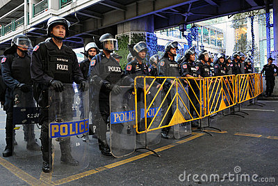 Riot Control Police at a Protest in Bangkok Editorial Image