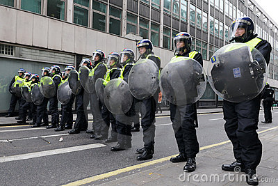 Riot Police at an Anti-Cuts Protest in London Editorial Image