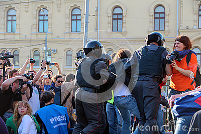 Riot Police Arrest Protesters in Moscow Editorial Stock Photo