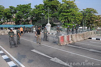 Riot Police Guard Government House in Bangkok Editorial Stock Image