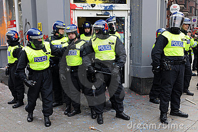 Riot Police at London Anti-Cuts Protest Editorial Photo