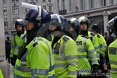 Riot Police at London Anti-Cuts Protest Editorial Stock Photo