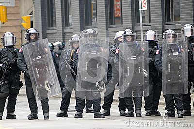 Riot police officers. Editorial Stock Photo