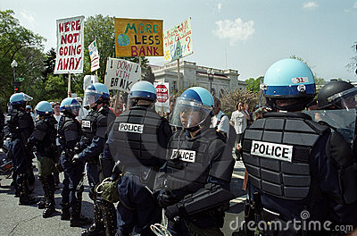 Riot Police at Protest Editorial Photography