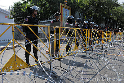 Riot Police at a Protest in Bangkok Editorial Stock Photo