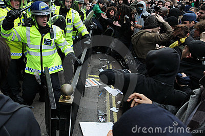 Riot Police and Protesters Clash in London Editorial Photo