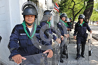 Riot Police Stand Guard at Government House Editorial Stock Image