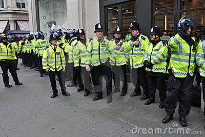 Riot Police on Standby in Central London Editorial Photo