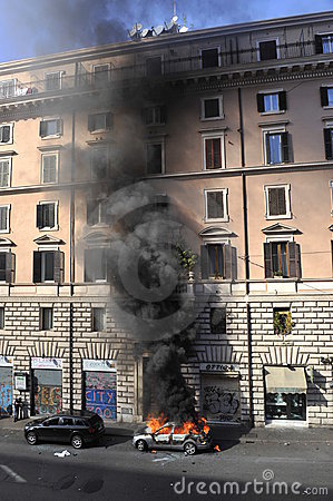 Riots in Rome - Italian Students Protest Editorial Image