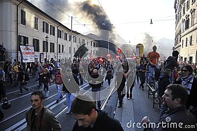 Riots in Rome - Italian Students Protest Editorial Photo