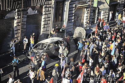Riots in Rome - Italian Students Protest Editorial Photo