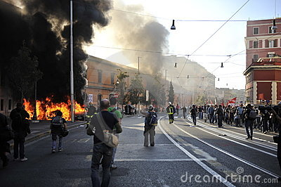 Riots in Rome - Italian Students Protest Editorial Stock Image