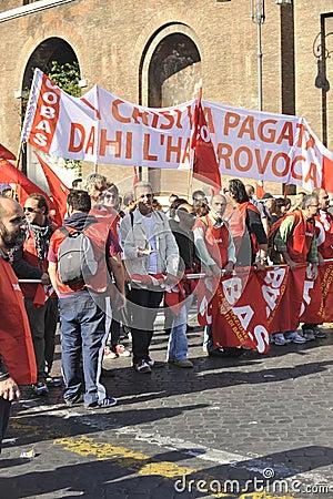Riots in Rome - Italian Students Protest Editorial Stock Photo