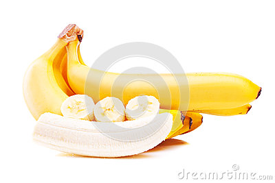 Ripe bananas isolated on white