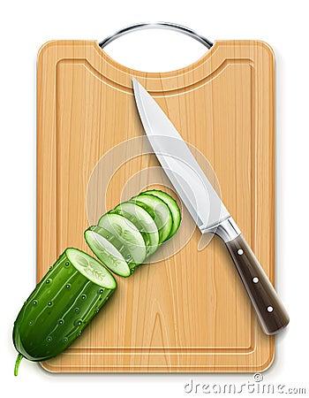 Ripe cucumber cut segment on board