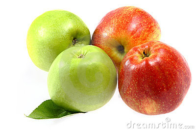 Ripe fresh red and green apple