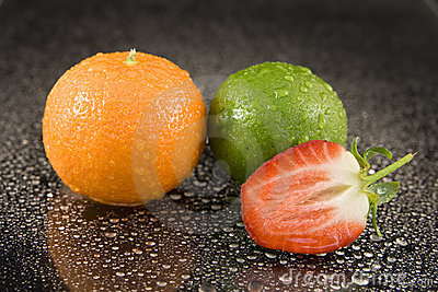 Ripe fruit on water