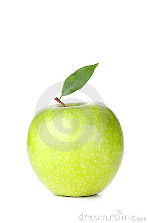 A Ripe Green Apple with leaf