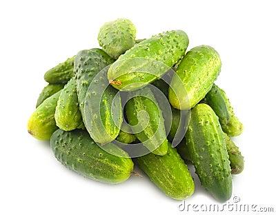 Ripe green cucumbers