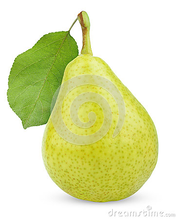 Free Ripe Green Yellow Pear Fruit With Leaf Stock Image - 26061941