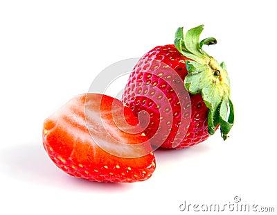 Ripe, juicy, beautiful strawberry close-up