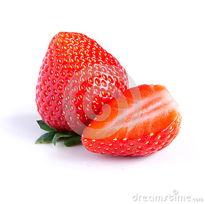 Ripe, juicy, beautiful strawberry close-up